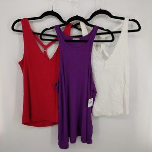 Free People Bundle of 3 Tank Tops Size Large NEW